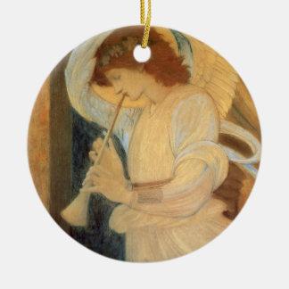 Anjo que joga o Flageolet por Burne Jones Ornamento De Cerâmica