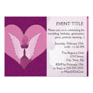 Anjos cor-de-rosa com coração convite 12.7 x 17.78cm