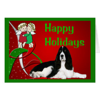 Anjos do cartão de Natal do Spaniel de Springer