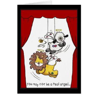 Anjos do leão e do Cordeiro-Jogo Cartão Comemorativo