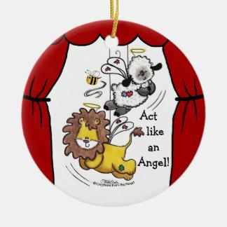 Anjos do leão e do Cordeiro-Jogo Ornamento De Cerâmica Redondo