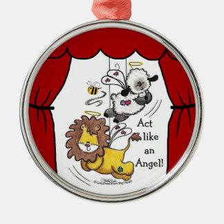 Anjos do leão e do Cordeiro-Jogo Ornamento Redondo Cor Prata