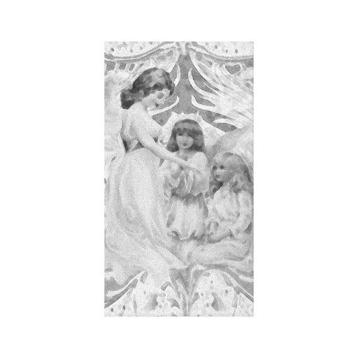 Anjos em preto e branco impressão em canvas