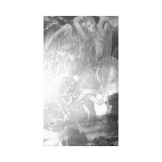 Anjos em preto e branco impressão de canvas envolvidas