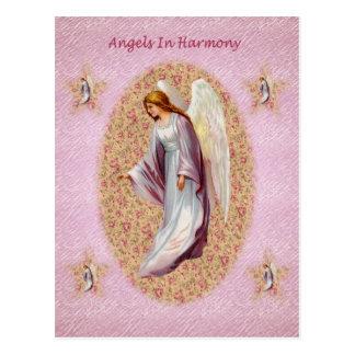 Anjos no cartão da harmonia cartão postal
