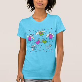 Anjos & t-shirt dos corações para mulheres,