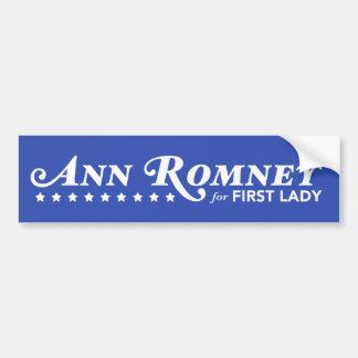 Ann Romney para a primeira senhora autocolante no  Adesivo Para Carro