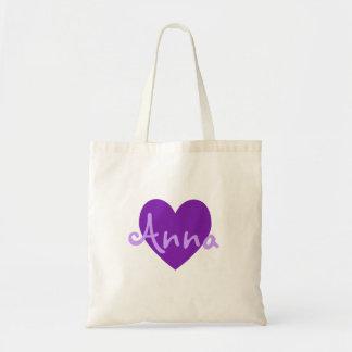 Anna no roxo bolsa para compras