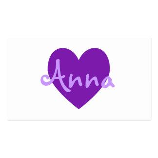 Anna no roxo cartão de visita
