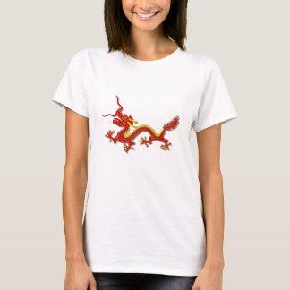 Ano chinês do vermelho e do ouro da camisa do