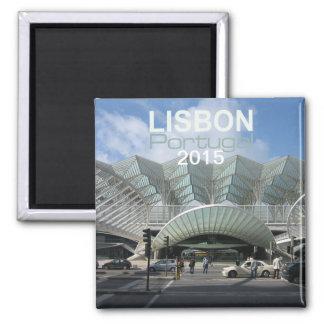 Ano da mudança do ímã do viagem de Lisboa Portugal Ímã Quadrado
