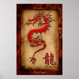 Ano do dragão, poster da arte do dragão do fogo