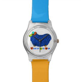 Ano do relógio azul dos carneiros ou da cabra