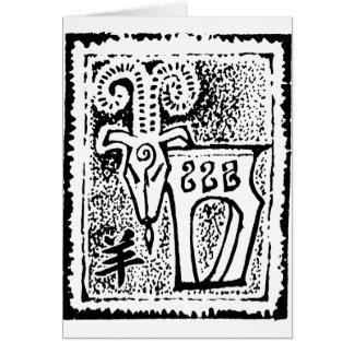 Ano do símbolo da cabra da ram dos carneiros cartão