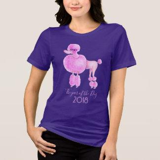 Ano do t-shirt do cão de caniche do rosa do cão