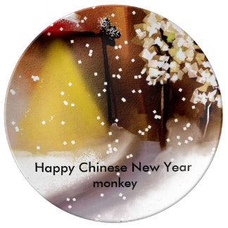 Ano novo chinês feliz pratos de porcelana