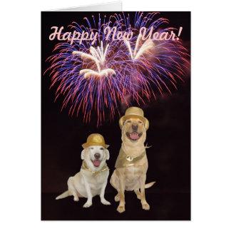 Ano novo do cão bonito cartoes