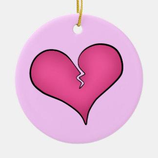 Anti dia dos namorados do coração cor-de-rosa ornamento de cerâmica redondo