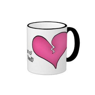 Anti dia dos namorados do coração cor-de-rosa queb canecas