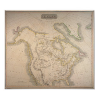 Antique 1814 Map of North America Pôster