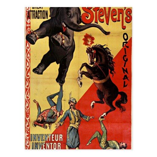 antique circus postcard cartoes postais