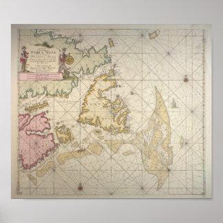 Antique dutch map of Newfoundland Pôster