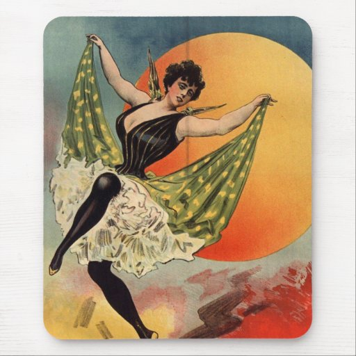 antique french dancing woman mousepad