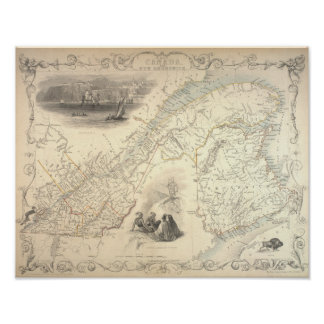 Antique Map of East Canada and New Brunswick 1857 Pôster