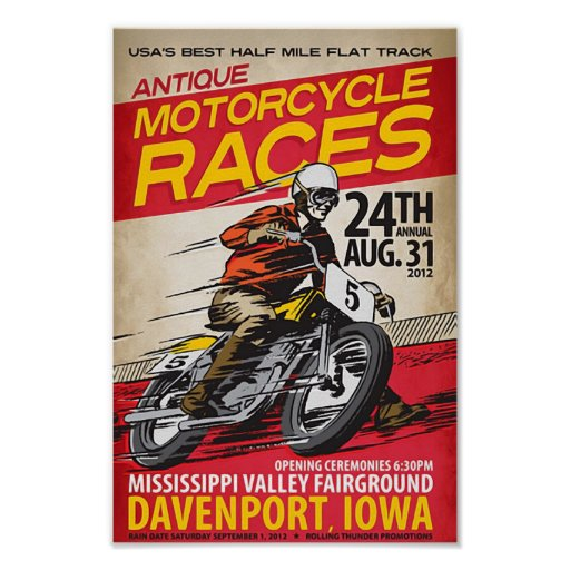 antique motorcycle races pôsteres
