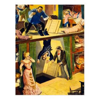 Antro de ópio Murder do vaudeville retro do kitsch Cartão Postal