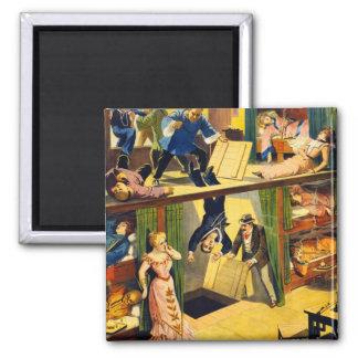 Antro de ópio Murder do vaudeville retro do kitsch Ímã Quadrado