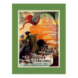 Anúncio 1911 antigo do viagem da expo de Roma do Cartão Postal