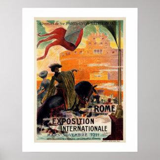Anúncio 1911 antigo do viagem da expo de Roma do Pôster