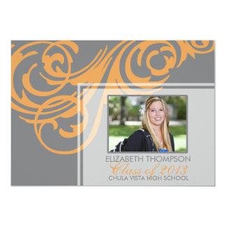 Anúncio 2013 elegante da graduação da laranja do convite 12.7 x 17.78cm