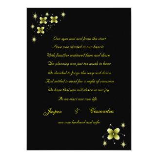 Anúncio amarelo de néon do elopement da faísca da convite 13.97 x 19.05cm