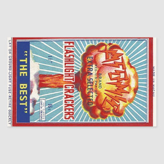 Anúncio atômico dos foguetes da lanterna elétrica adesivo retangular