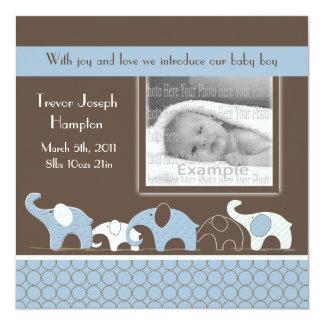 Anúncio azul do bebé do elefante convites personalizado