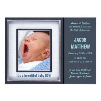 Anúncio azul do nascimento do bebé convite personalizado