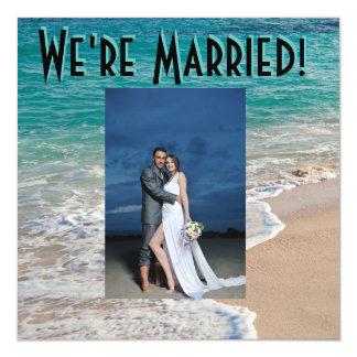 Anúncio bonito do casamento de praia convite quadrado 13.35 x 13.35cm