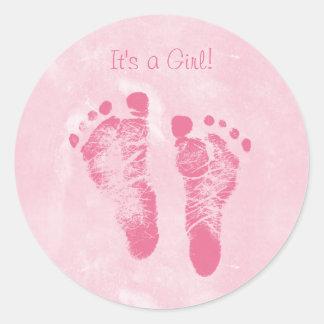 Anúncio bonito do nascimento das pegadas do bebé adesivo