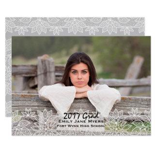 Anúncio branco da graduação da foto do laço convite 12.7 x 17.78cm