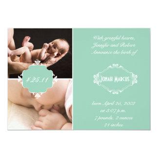 Anúncio branco verde do bebê da foto do quadro do convite personalizados