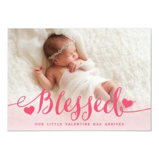 Anúncio cor-de-rosa abençoado do nascimento dos