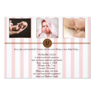 Anúncio cor-de-rosa e branco do bebê da foto da convites