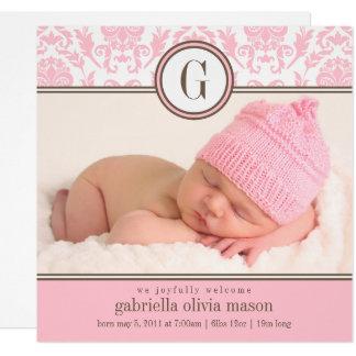 Anúncio cor-de-rosa quadrado do nascimento do convite quadrado 13.35 x 13.35cm
