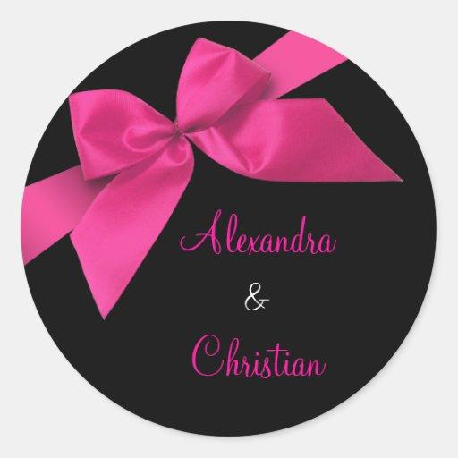 Anúncio cor-de-rosa RSVP do convite do casamento Adesivos Em Formato Redondos