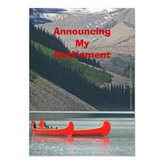 Anúncio da aposentadoria, canoas da montanha convite 12.7 x 17.78cm