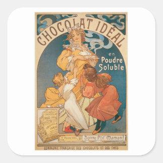 Anúncio da bebida do chocolate quente do vintage adesivo quadrado