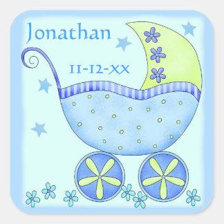 Anúncio da data de nascimento do nome do menino do adesivo quadrado