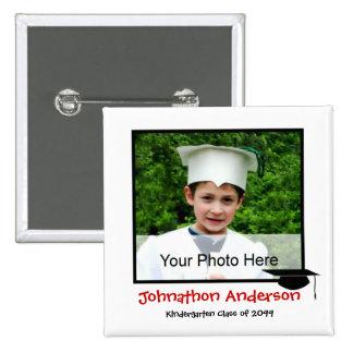 Anúncio da graduação do jardim de infância da foto bóton quadrado 5.08cm